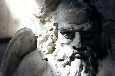 Antique Monastery Sculpted Relief Plaster Frieze Depicting Father Time c.1870