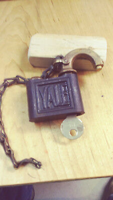 antique/vintage yale 805 push key padlock w/key/chain works good  18