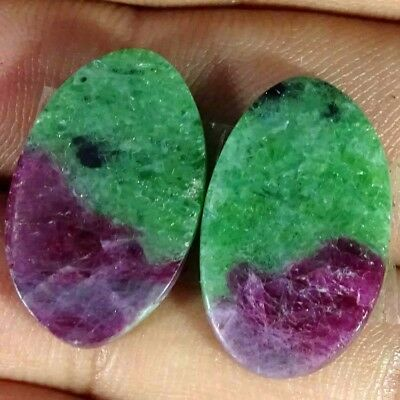 23.40Cts BEST RUBY ZOISITE OVAL SHAPE MATCH PAIR CABOCHON LOOSE GEMSTONE