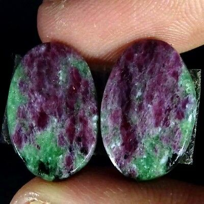 17.50Cts RUBY ZOISITE OVAL SHAPE MATCH PAIR CABOCHON LOOSE GEMSTONE
