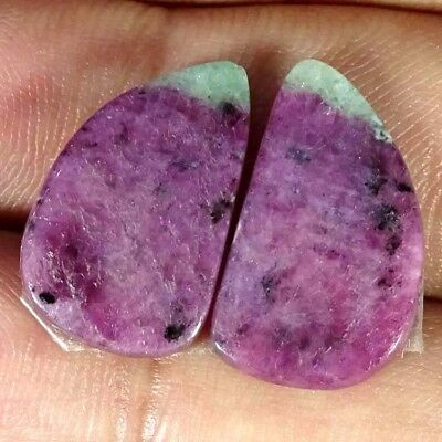 15.70Cts FINE RUBY ZOISITE FANCY SHAPE MATCH PAIR CABOCHON LOOSE GEMSTONE