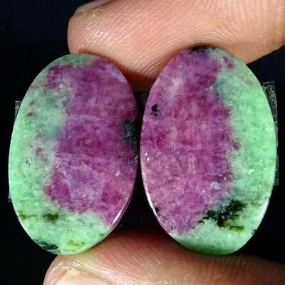 38.80Cts RUBY ZOISITE OVAL SHAPE MATCH PAIR CABOCHON LOOSE GEMSTONE