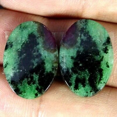 22.20Cts RUBY ZOISITE OVAL SHAPE MATCH PAIR CABOCHON LOOSE GEMSTONE