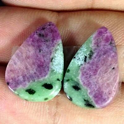20.70Cts FINE RUBY ZOISITE PEAR SHAPE MATCH PAIR CABOCHON LOOSE GEMSTONE
