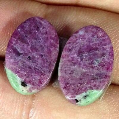 18.50Cts RUBY ZOISITE OVAL SHAPE MATCH PAIR CABOCHON LOOSE RARE GEMSTONE