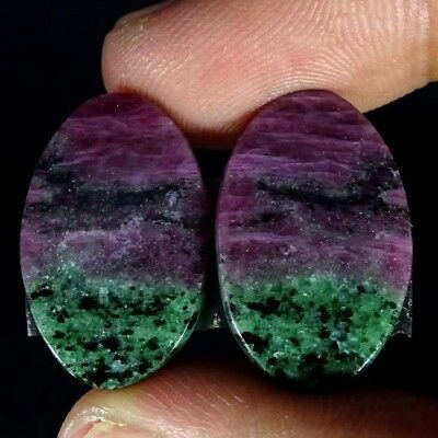 29.40Cts RUBY ZOISITE OVAL SHAPE MATCH PAIR CABOCHON LOOSE GEMSTONE