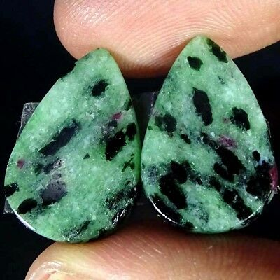19.40Cts FINE RUBY ZOISITE PEAR SHAPE MATCH PAIR CABOCHON LOOSE GEMSTONE