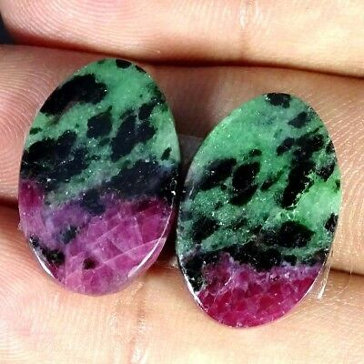 26.50Cts RUBY ZOISITE OVAL SHAPE MATCH PAIR CABOCHON LOOSE GEMSTONE