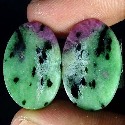 25.40Cts BEST RUBY ZOISITE OVAL SHAPE MATCH PAIR CABOCHON LOOSE GEMSTONE