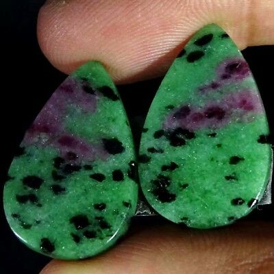 26.00Cts FINE RUBY ZOISITE PEAR SHAPE MATCH PAIR CABOCHON LOOSE GEMSTONE