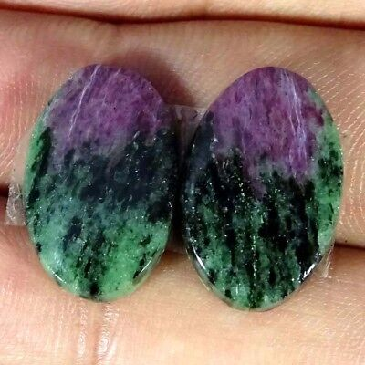 20.30Cts RUBY ZOISITE OVAL SHAPE MATCH PAIR CABOCHON LOOSE GEMSTONE