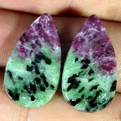 23.40Cts FINE RUBY ZOISITE PEAR SHAPE MATCH PAIR CABOCHON LOOSE GEMSTONE