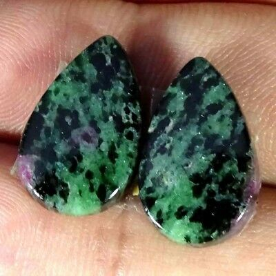 15.70Cts FINE RUBY ZOISITE PEAR SHAPE MATCH PAIR CABOCHON LOOSE GEMSTONE