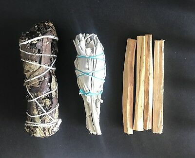 California White Sage,Palo Santo 4 sticks ,Yerba Santa Smudge 3 Pack Bundl