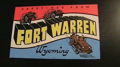 Fort Warren Wyoming Wy Postcard Linen Jeeps Soldiers Large Letter Greetings PC