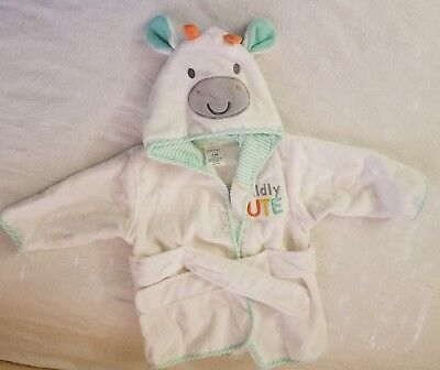 Baby Bathrobe 0-9 mos White & Mint Green Hooded Slippers Bunny Ears Tie at Waist