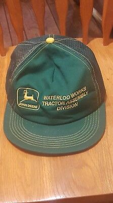 John Deere Rare K Products Vintage Waterloo Works Tractor Assembly Mesh Cap Hat!