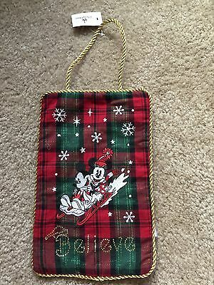Disney Christmas Mickey & Minnie Mouse Plaid Door or Wall Hanging NEW