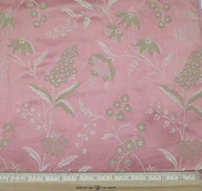 "French Antique 19thC Pink Rose Patterned Silk Floral Jacquard Fabric~26""LX24""W"