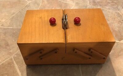 Vintage Wooden Expanding Sewing Box Accordion Style Fold Estate Sale
