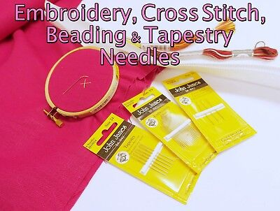 John James Quality CHENILLE, TAPESTRY & EMBROIDERY Hand Sewing Needle Packs