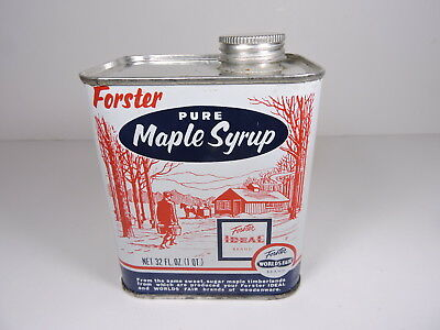 Vintage 1 Qt. Maple Syrup Tin Forster World's Fair