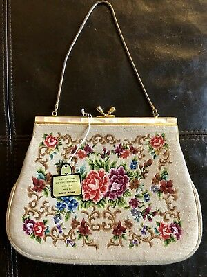 Rare Vintage Hand Made Petit Point Purse Roses Floral Jeweled Pearl Frame