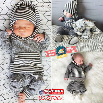 US Toddler Newborn Baby Boys Striped Hooded Tops+Long Pants Outfits Clothes Sets