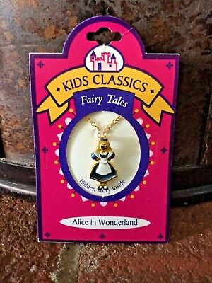 New Vintage Kids Classics Fairy Tales Alice In Wonderland Alice Necklace 1980's