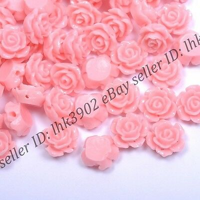 20 Pcs Gorgeous Pink Rose Flower Coral Spacer Beads 10MM