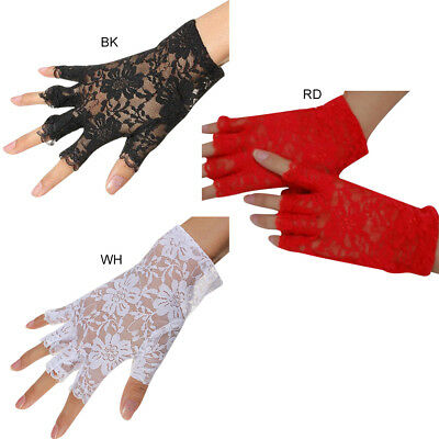 Women Elegant Short Lace Fingerless Gloves Net Goth Gothic Bride Wedding Mittens