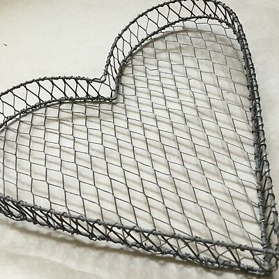 Antique Heart Shaped  Wire Pastry  / Candy Tray