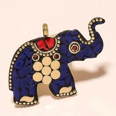 Lapis Lazuli, Red Coral Elephant Handmade Gold Plated Tibetan Pendant 1.7""