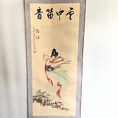 Japanese Hanging Scroll Artwork Painting Flue Player Antique Signed
