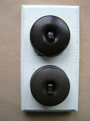 ORIGINAL GENUINE VINTAGE BAKELITE GEC LIGHT SWITCH x2 ON WOOD BASE SPST GWO VGC