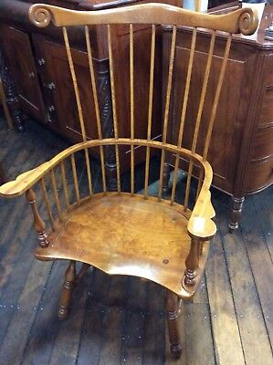Leopold Stickley Cherry Wood Windsor High Fan Back Chair