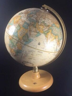 Vintage Replogle 9 Inch Diameter Globe World Classic Series Made In Usa Hardwood