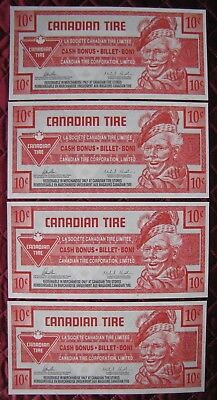 (3) C0Nsecutive 2014 $.10 Cent Canadian Tire Bonus Banknotes  Circulated  (X)