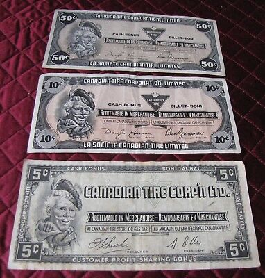 (3) Canadian Tire Bonus Banknotes1985/1989/(????) Circulated (H)