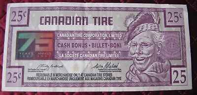 1996 75Th Anniversary  $.25 Cent Canadian Tire Bonus Banknote  Circulated  (Q)