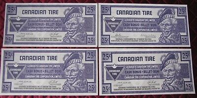 (4) Four $.25 Cent Canadian Tire Bonus Banknotes  Circulated  (V)