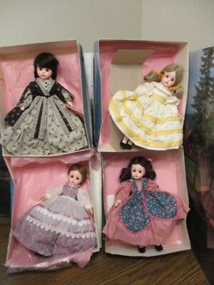 """HTF Madame Alexander LOT H of 4 Lissy About 12"""" Little Women Dolls"""