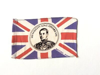 "Vintage King Edward Viii Duke Of Windsor  Cloth ""British Made"" Flag Circa 1936"