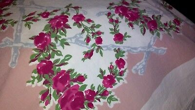 """VINTAGE TABLECLOTH W/ FLOWERS 50"""" X 61""""~RED ROSES~ W/ coral colors -greens white"""