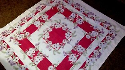 """VINTAGE TABLECLOTH W/ FLOWERS ( daises)  50"""" X 44"""" reds-teal- white"""