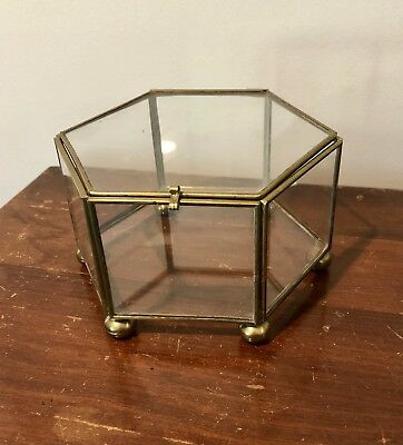 """Vintage Glass and Brass Curio - Footed Hexagon 5"""""""