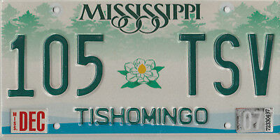 Mississippi License Plate Tishomingo 105 TSV Free Shipping Nice