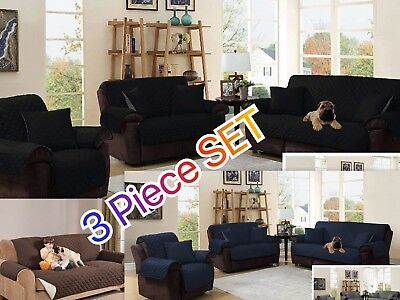3 Piece Reversible Furniture Protector Quilted Slipcover Sofa+Love+Chair