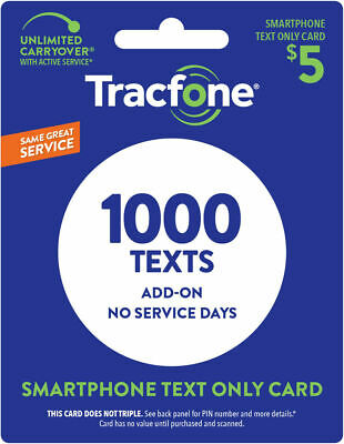 TracFone Smartphone Only Plan - 1,000 Add-On Text Only