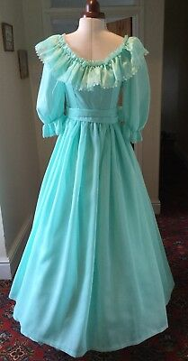 VINTAGE 1980's VICTORIAN STYLE TURQUOISE GREEN BRIDESMAID DRESS BY ABLC